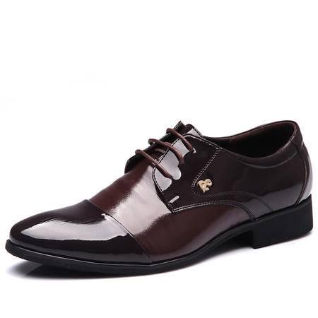 米斯康男式鞋正装皮鞋亮光皮尖头男鞋商务皮鞋结婚鞋英伦鞋真皮鞋1877
