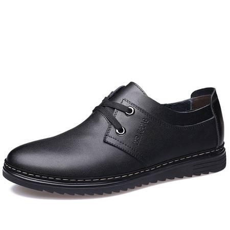 米斯康男士鞋休闲皮鞋真皮冬季潮鞋英伦风休闲鞋圆头耐磨皮鞋男鞋8100