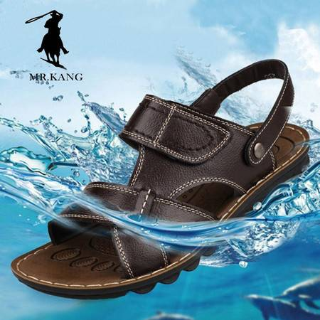 米斯康新款夏季男士休闲沙滩鞋正品真皮凉鞋男韩版潮流牛皮鞋5860-1
