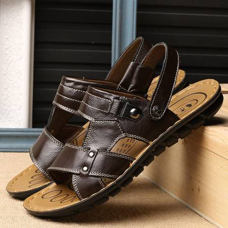 2016新品男士凉鞋夏季透气沙滩鞋男皮凉鞋真皮日常休闲男鞋子韩版牛皮男鞋