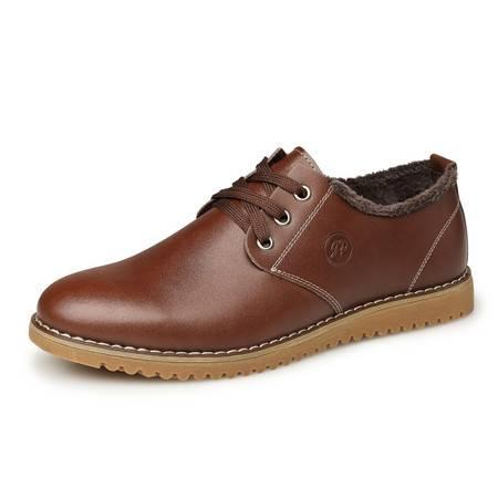 米斯康秋冬季男士休闲皮鞋男真皮英伦低帮系带加绒棉鞋牛皮板鞋男鞋子835