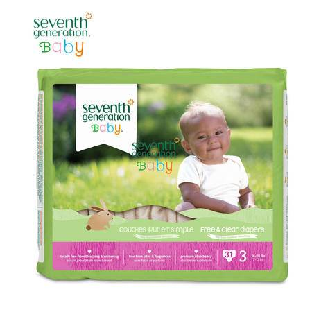 美国seventhgeneration原装进口七世代无荧光剂有机环保纸尿裤超薄透气尿不湿M码