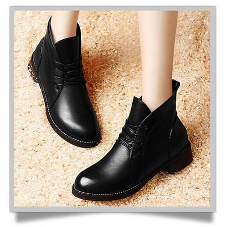 古奇天伦防水台女鞋子粗跟低跟鞋 系带靴子