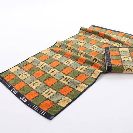 金号毛巾正品 纯棉男士毛巾 提缎方格字母面巾