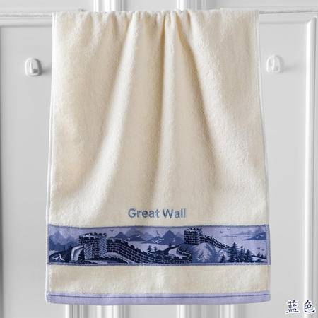 金号正品纯棉家居 厚实吸水提缎绣花长城毛巾  简易大方