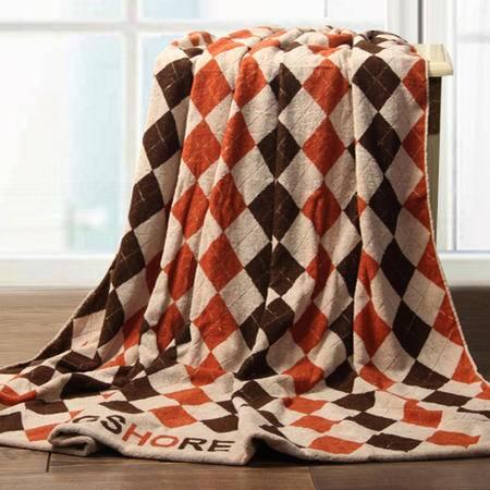专柜正品 大气英伦格金号纯棉毛巾被夏季单人加厚毛巾毯包邮