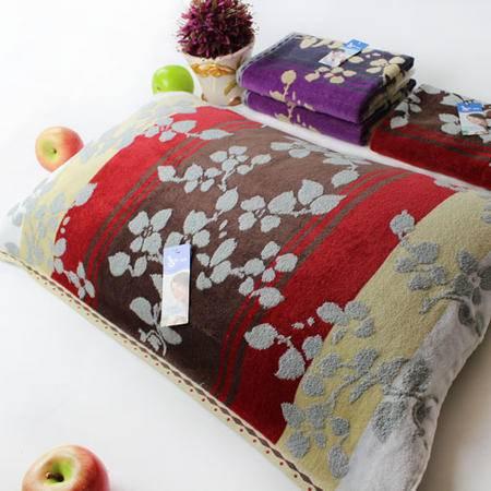 孚日洁玉专柜正品纯棉一对枕巾 柔软舒适立体提花大气百搭型