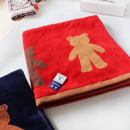 金号专柜正品 纯棉吸水 割绒加厚小熊浴巾 柔软舒适浴巾