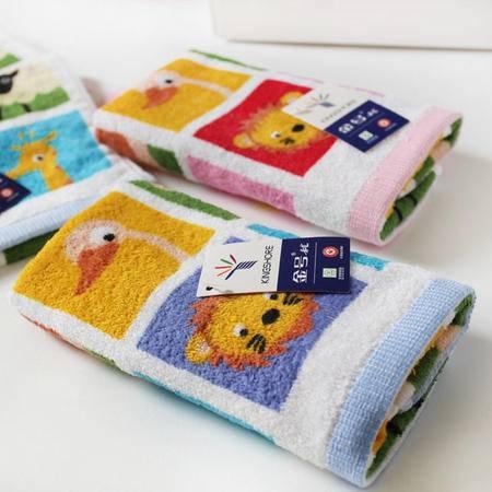 金号童巾 专柜正品 纯棉提缎割绒印小动物可爱儿童毛巾
