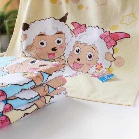 金织汇 洁玉专柜正品纯棉浴巾 喜羊羊特价宝宝儿童浴巾柔软割绒