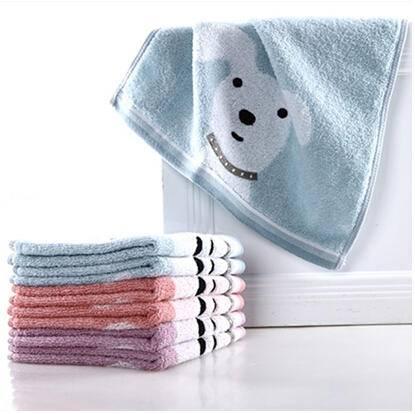 金号毛巾 正品 纯棉方巾 抹手巾 可爱小兔小狗 自带挂绳