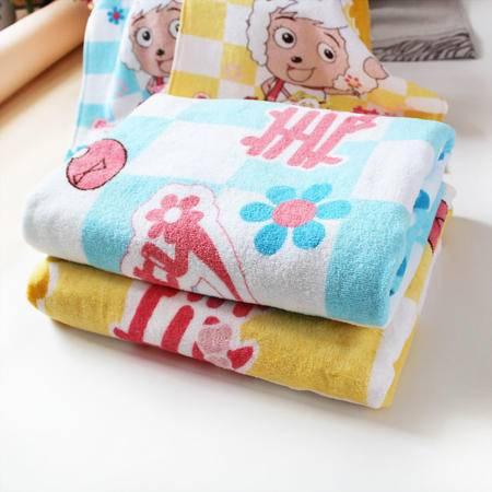 孚日洁玉专柜新款喜羊羊 割绒活性印花浴巾 儿童宝宝纯棉浴巾正品