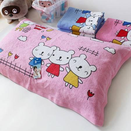 孚日洁玉正品儿童学生枕巾超可爱纯棉小熊枕巾 柔软舒适睡的香