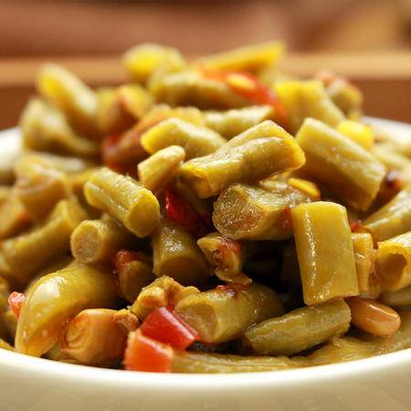 【泾县馆】红油豇豆安徽特产丁渡酱菜咸菜下板自制泡酸豇豆120g*10袋