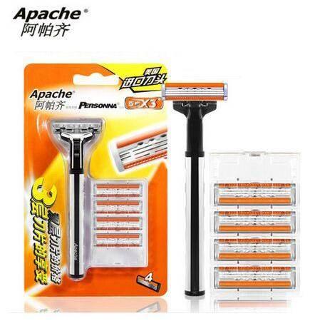 【美国进口刀片】Apache阿帕齐 三层手动剃须刀 手动刮胡刀 手动 1刀架4刀头
