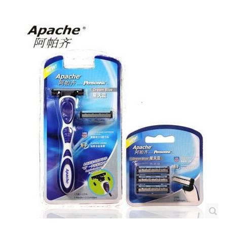 【美国进口刀片】Apache阿帕齐 三层手动剃须刀 1刀架2刀头  兼容五层刀架 新品(加送3刀头)