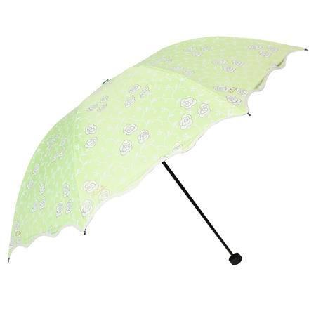 天堂伞 世纪佳缘黑胶丝印波浪边防紫外线三折黑杆钢骨晴雨伞