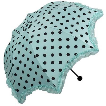 天堂伞 黑胶丝印黑圆点拼双层蕾丝花边三折蘑菇晴雨伞太阳伞