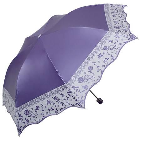 天堂伞 春华稠彩胶丝印包波浪边三折铅笔晴雨伞太阳伞
