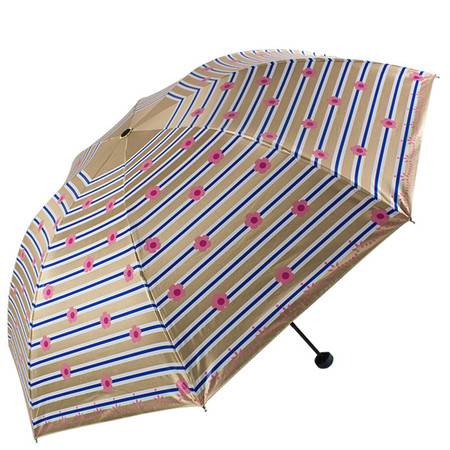 天堂伞 幻彩蓝胶丝印条纹花三折黑杆钢骨晴雨伞太阳伞