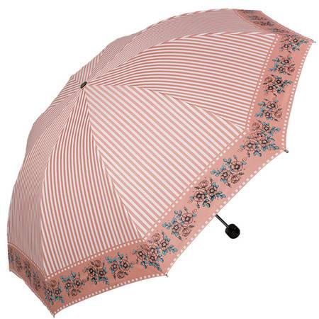 天堂伞 UPF50+加大加固黑胶丝印条纹花三折刚杆钢骨晴雨伞太阳伞 粉红 30056ELCJ