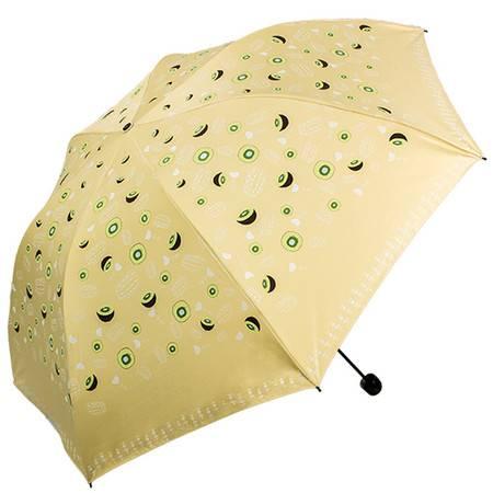 天堂伞 UPF50+全遮光黑胶丝印水果三折蘑菇铅笔晴雨伞太阳伞  30074ELCJ