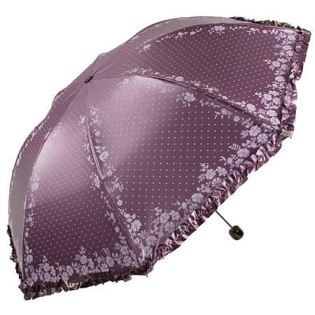天堂伞 UPF50+双面柔粉亮胶丝印拼裙边三折晴雨伞太阳伞  30049ELCJ
