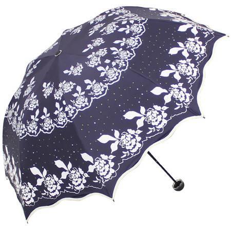 天堂伞 百花公主黑胶丝印包波浪边三折蘑菇晴雨伞太阳伞 33235E