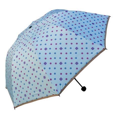 天堂伞 UPF50+(遇光变色)黑胶丝印点花三折蘑菇晴雨伞太阳伞  30075ELCJ