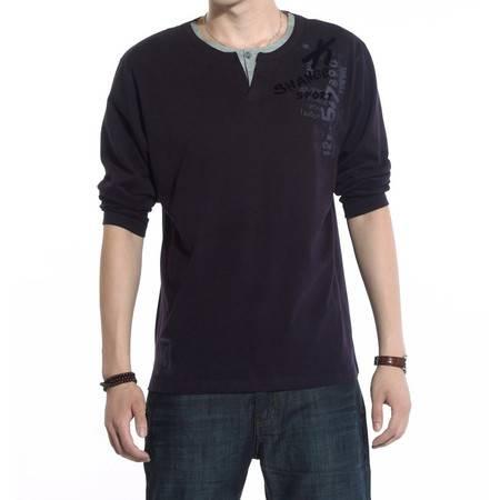 科威龙秋装新款正品 男长袖t桖男士棉质休闲V领男T恤中年宽松体恤LYC486