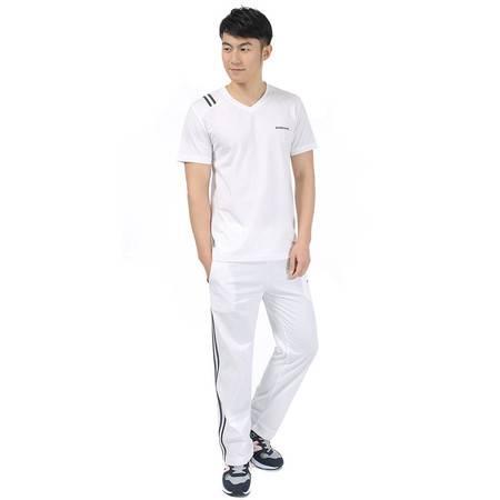 春夏新款中老年男士棉质运动服V领短袖套头T恤休闲长裤两件套LJ877套装