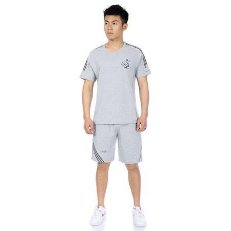中老年男装夏季薄型透气套装宽松柔棉短裤套装短袖T恤两件套LJ858 865