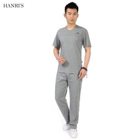 中老年夏季男装简约棉质短袖宽松T恤套装晨练运动休闲两件套LJ851 857