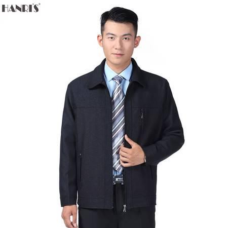 中老年翻领夹克商务休闲jacket男秋装薄外套爸爸装HR拉链纽扣