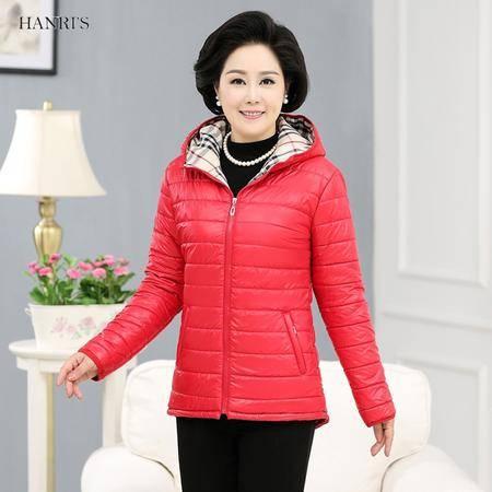 冬季女装棉服中老年装糖果色连帽棉衣加厚保暖拉链棉夹克外套加大码161-5129