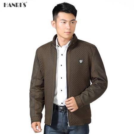 中老年人通勤深色外套厚款男士立领拉链棉夹克拼接直筒长袖外衣LML8033