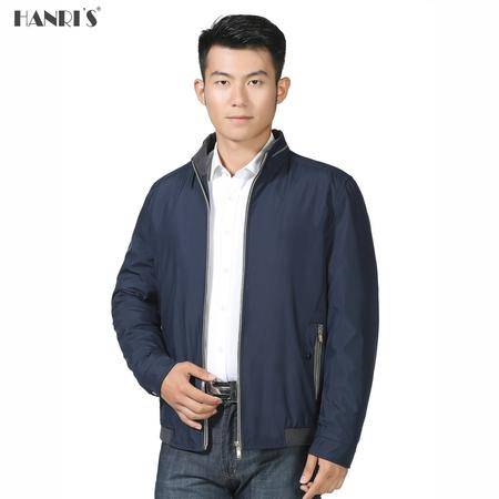 冬季男士简约直筒夹棉外套中年人商务立领短款夹克老头衫厚款LML511