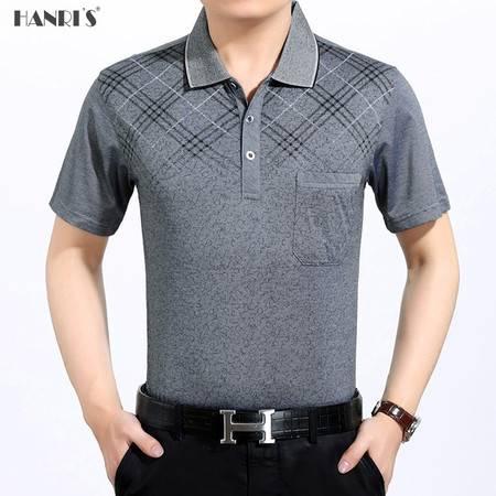 中老年男装新款真口袋短袖T恤棉夏季男士衬衣领休闲印花套头衫LML895