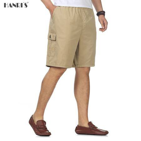 中年男士夏装短裤加肥加大棉质休闲沙滩裤啤酒肚松紧腰五分裤中裤GXC902
