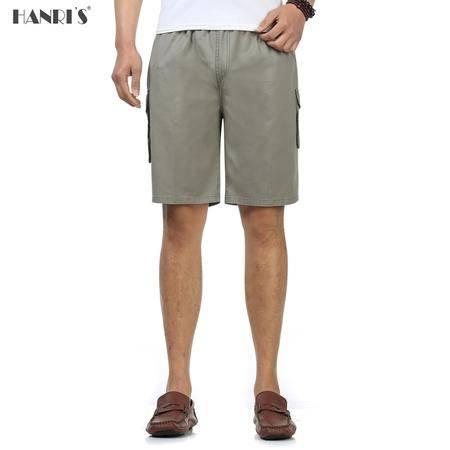 爸爸装夏季纯色休闲短裤老年人男士松紧高腰加大中裤多口袋五分裤棉GXC08