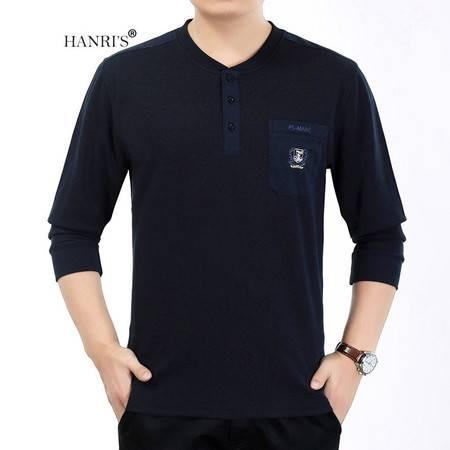 HANRI'S/瀚瑞春秋季纽扣口袋打底衫 中老年加大爸爸装 多色时尚长袖T恤 LML2189