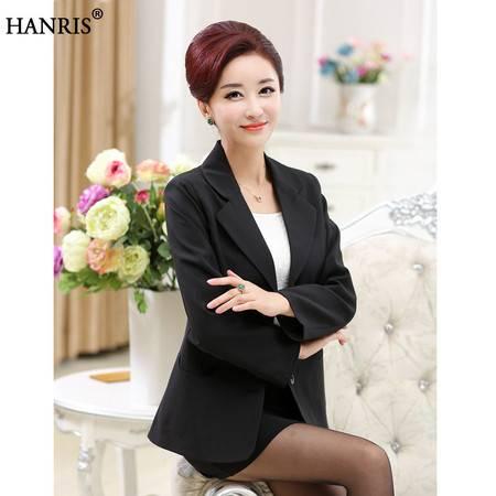 瀚瑞(hanris)中老年人春秋女装外套妈妈装薄款小西装40-50岁短款单排扣上衣XYH026
