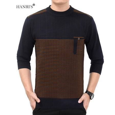 HANRI'S/瀚瑞秋冬条纹圆领毛衫中老年加厚保暖老人针织衫休闲时尚拼色毛衣 YXH H-9