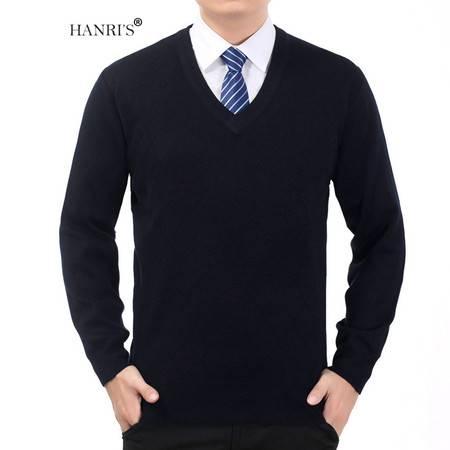 HANRI'S/瀚瑞冬季鸡心领打底衫 加大加肥爸爸毛衫 中老年直筒平板毛衫 YXH301