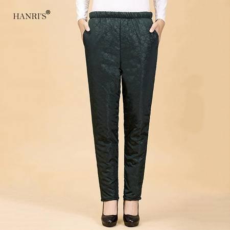 瀚瑞(hanris)胖妈妈冬季裤装 时尚休闲百搭加大 直筒加厚夹棉长裤子 299-6099