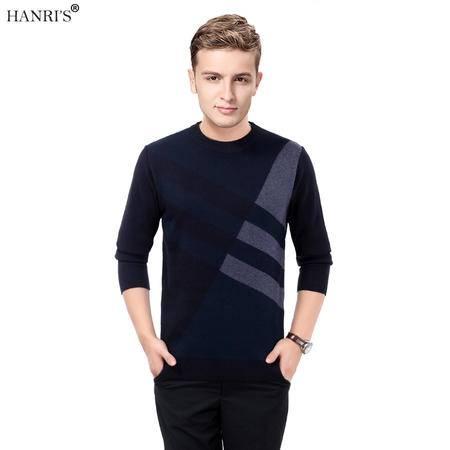 瀚瑞(hanris)男士简约毛衣中老年人男装大码针织衫圆领套头加厚爸爸装WYM3809
