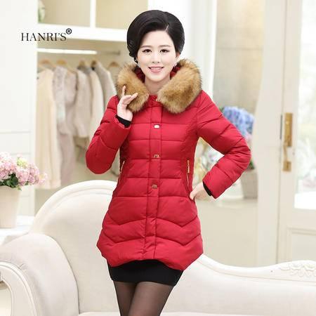 瀚瑞(hanris)冬季帽领加厚加大中长棉衣 长毛领女棉服 蕾丝显瘦妈妈装 161-ZHQ5122