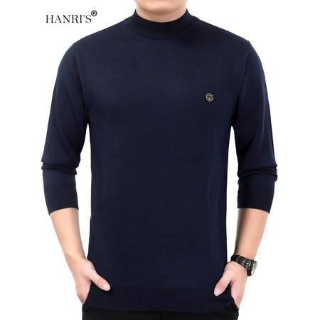 HANRI'S/瀚瑞新款保暖半高领针织毛衫商务打底帅爸毛衣平板简约男冬装  YXH C5