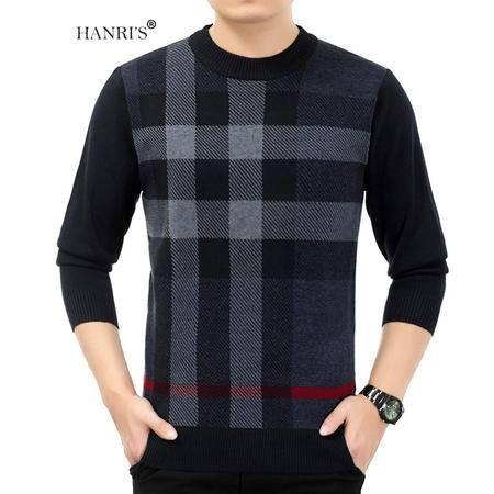 HANRI'S/瀚瑞冬款拼色格纹男毛衫潮爸男装毛衣 圆领中老年大码针织衫 YXH2216