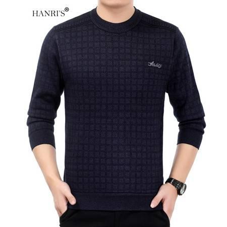 HANRI'S/瀚瑞格纹圆领毛衫 加厚加绒保暖打底衫爸爸室外防寒套衫毛衫 YXH9213